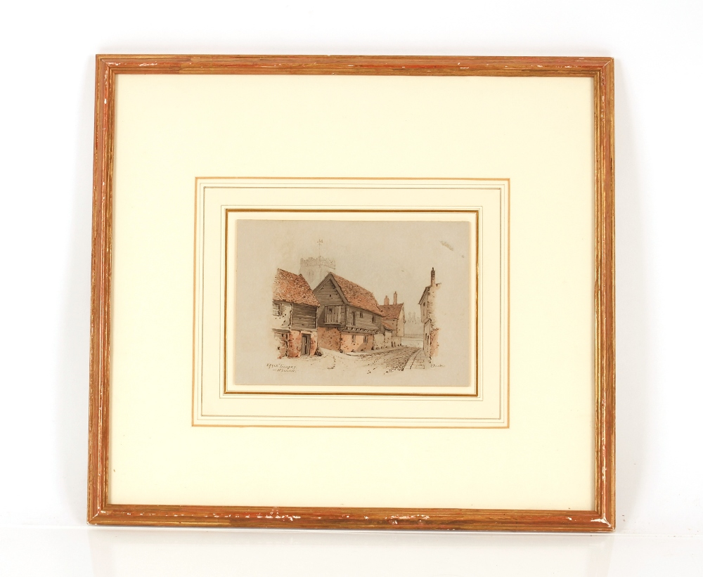 Edward Pococke 1843-1901,study of The Eagle, Foundry Street, Ipswich, signed watercolour, 12.5cm - Image 2 of 2