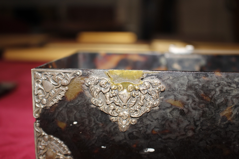 A 19th Century tortoiseshell and white metal mounted trinket casket,having pierced foliate and - Image 9 of 19