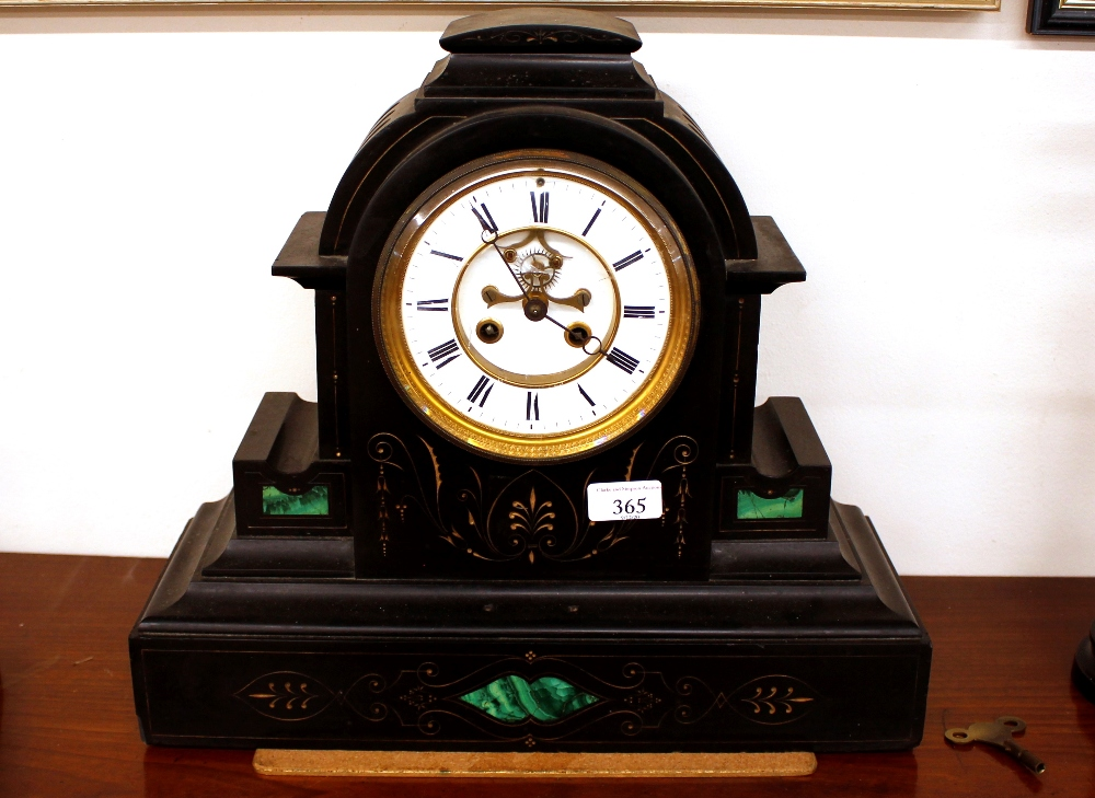 A 19th CenturyFrench marble cased mantel clock,of architectural form, having malachite inserts,