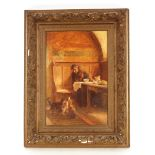 A.P. Cole, study of a monk seated with a meal studied by three envious cats, signed oil on board