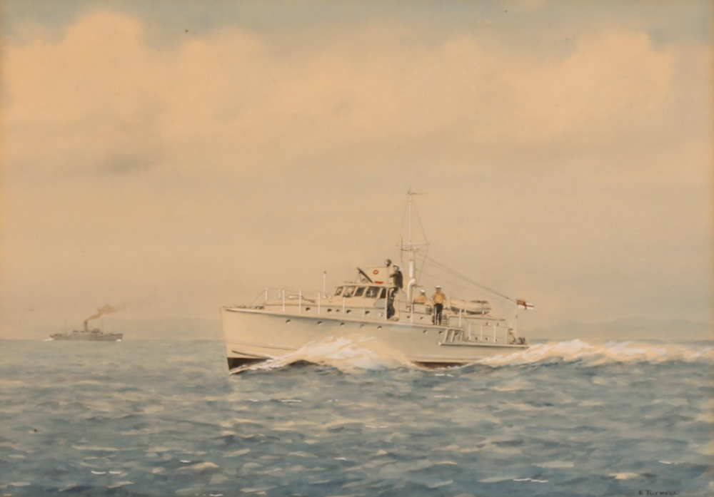 E Tufnell,study of a patrol boat, signed watercolour, 26cm x 36cm