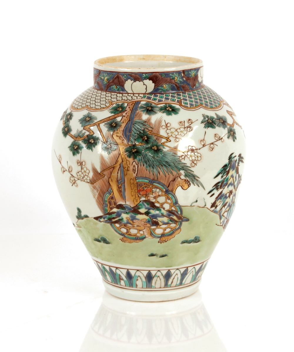An Oriental porcelain vase of baluster form,decorated birds and foliage, 31cm high
