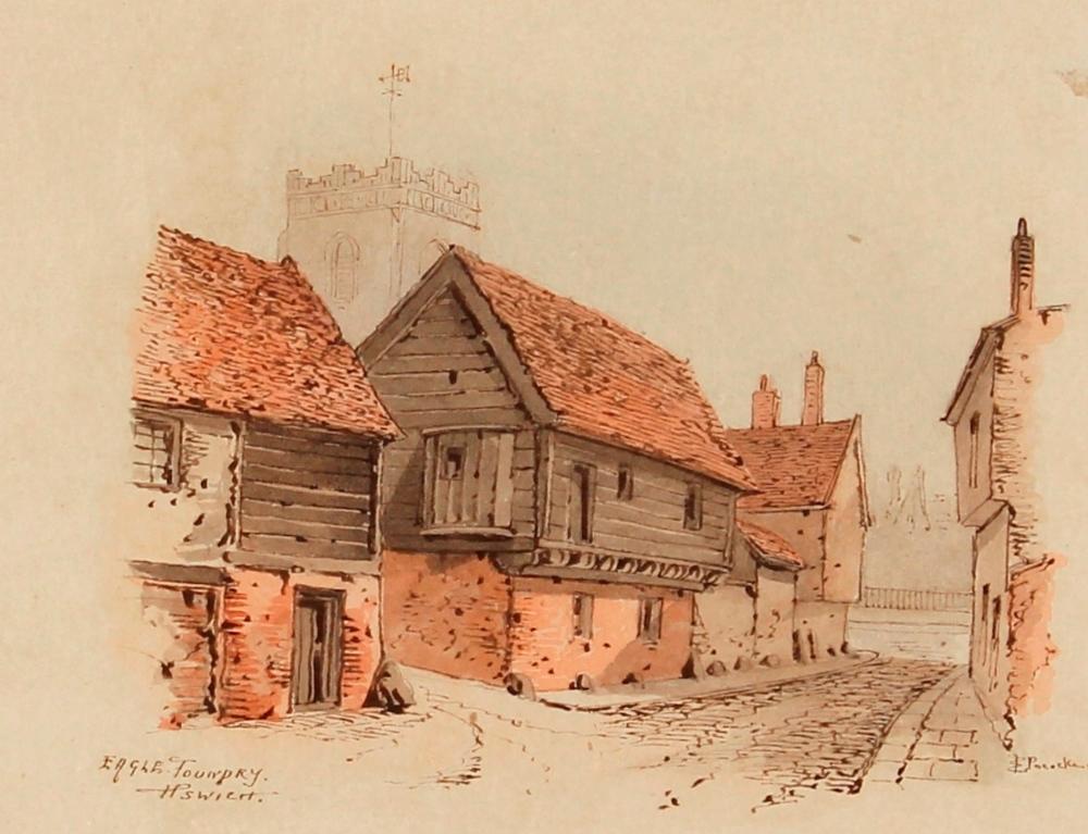 Edward Pococke 1843-1901,study of The Eagle, Foundry Street, Ipswich, signed watercolour, 12.5cm