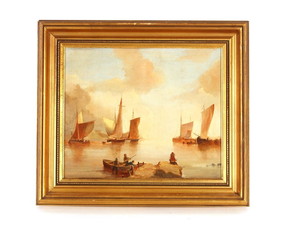Andre De Moller, Suffolk coastal scene oil on canvas with dedication verso, 24.5cm x 29cm
