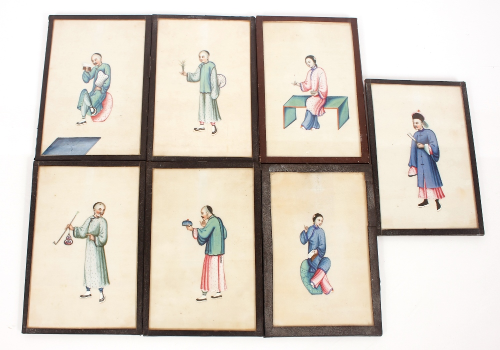 Fourteen 19th Century Chinese paintings on pith or rice paper,depicting domestic and rural - Image 2 of 2