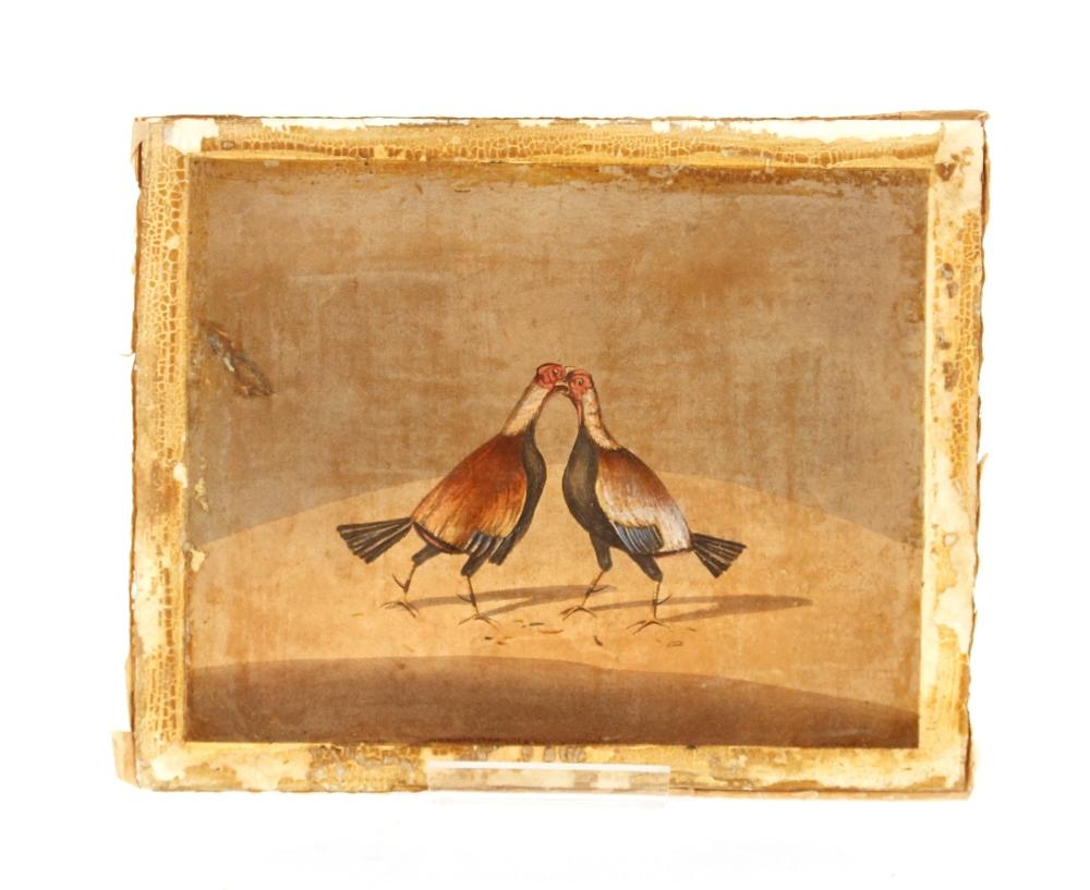 Three 19th Century cock fightingprints, (unframed)
