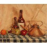 Leonard F Sutton, still life with copper kettle, signed oil on board, 48cm x 58cm