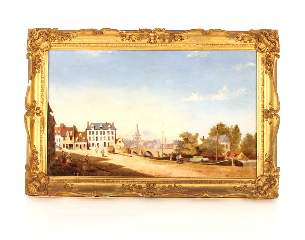 19th Century school,study of a continental canal scene with boats, figures and buildings, 34cm x