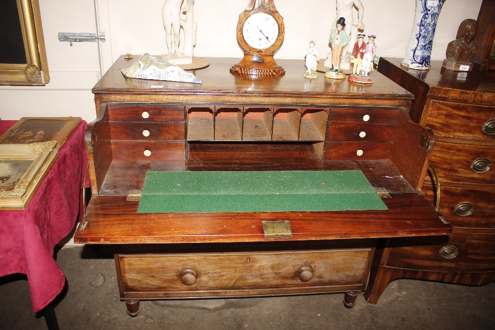A 19th Century mahogany and cross banded secretairechest,the writing drawer with interior - Image 2 of 10
