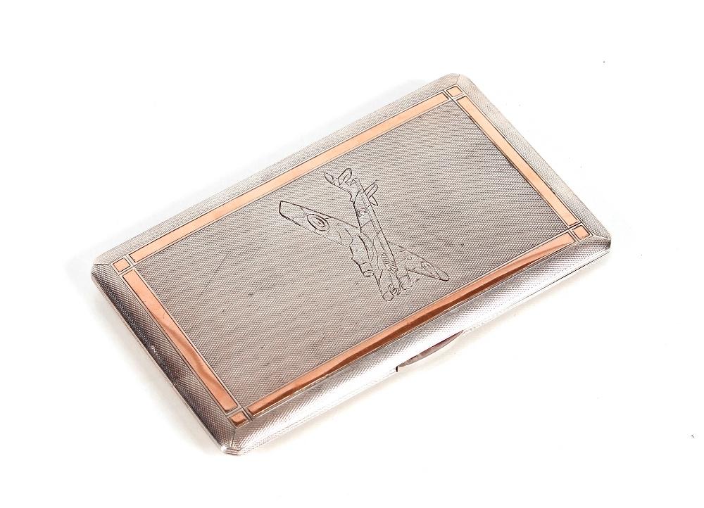 """A silver cigarette case, with inscription to """"Mr H"""