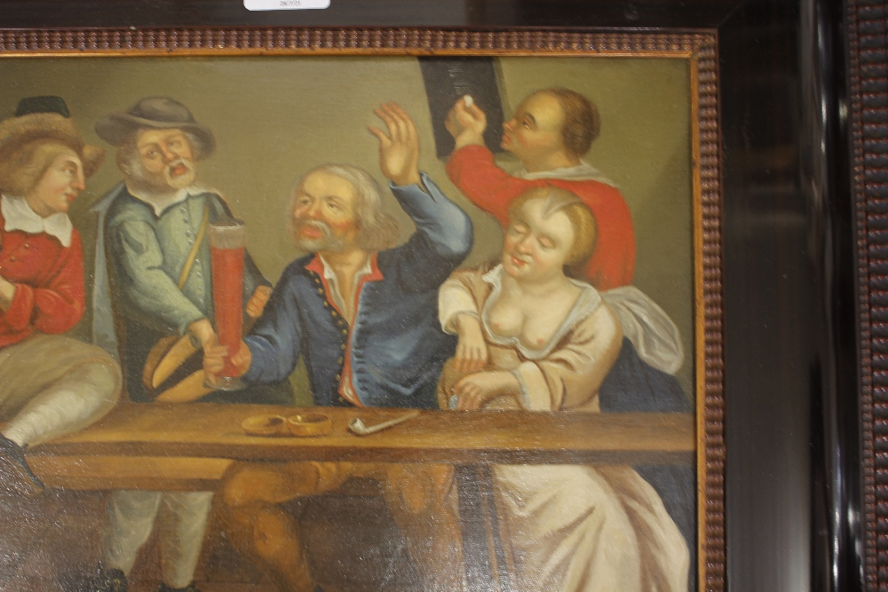 Dutch school late 17th / early 18th Century scene,of a bawdy tavern interior, unsigned oil on - Image 3 of 9