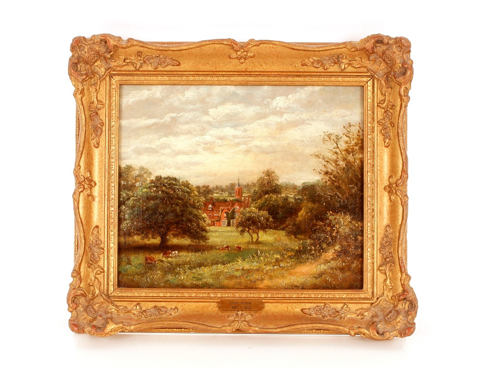 John Moore 1820-1902, study of a large house with meadow and cattle to the fore ground, signed