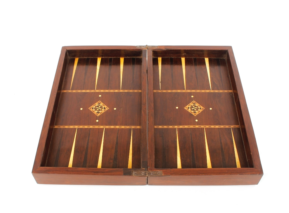 A mahogany rosewood and satinwood inlaid folding chess board,with backgammon to the interior, - Image 2 of 2