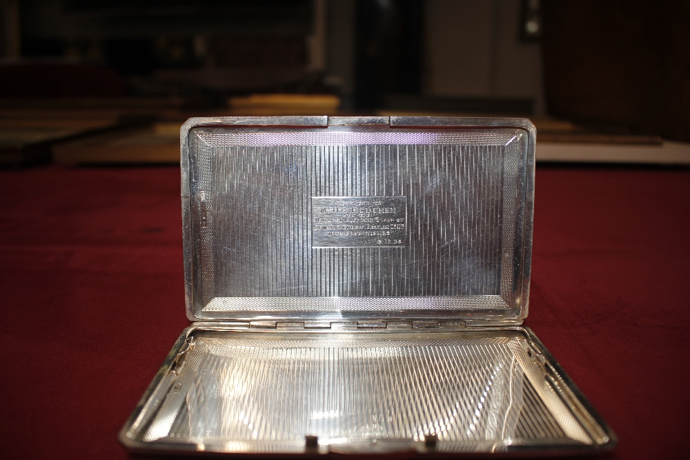 """A silver cigarette case, with inscription to """"Mr H - Image 5 of 7"""
