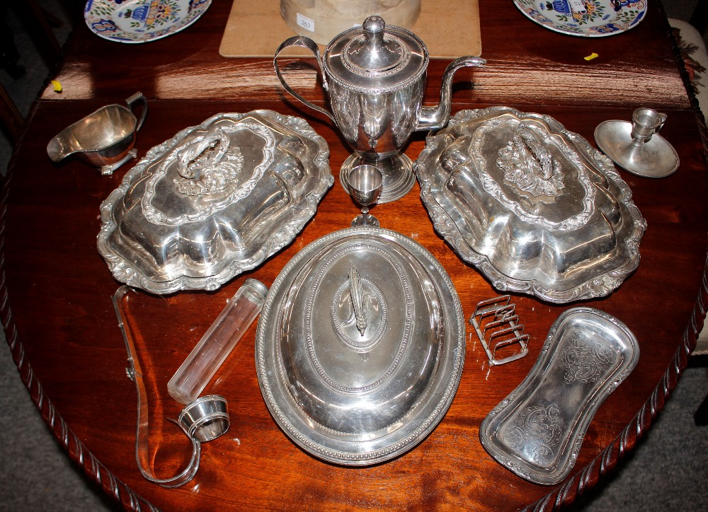 A pair of oval plated entreédishes,another with beaded border; plated coffee pot and miscellaneous