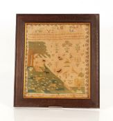 A 19th Century sampler, decorated with alphabet, n