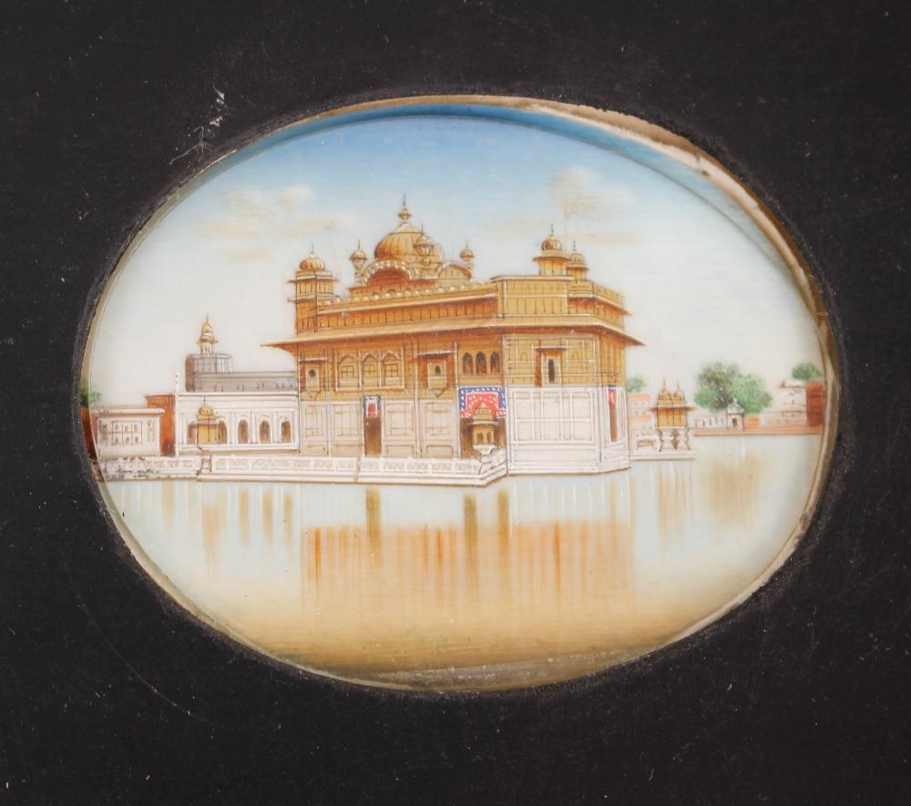 Two Indian oval miniature portraitsof the Taj Mahal,framed as one
