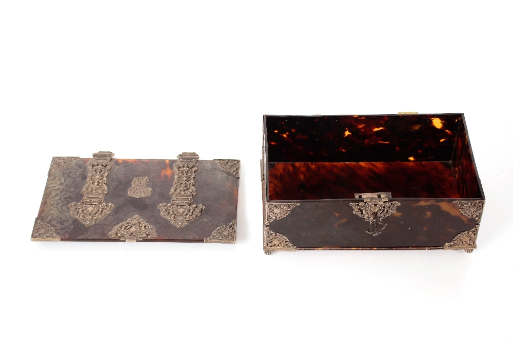 A 19th Century tortoiseshell and white metal mounted trinket casket,having pierced foliate and - Image 2 of 19
