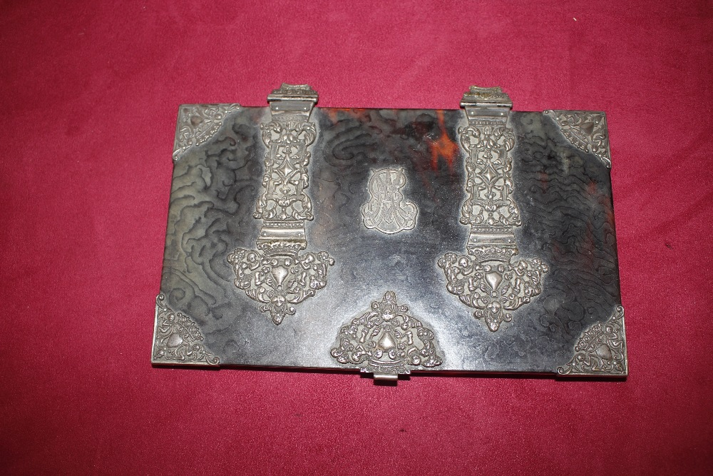 A 19th Century tortoiseshell and white metal mounted trinket casket,having pierced foliate and - Image 13 of 19