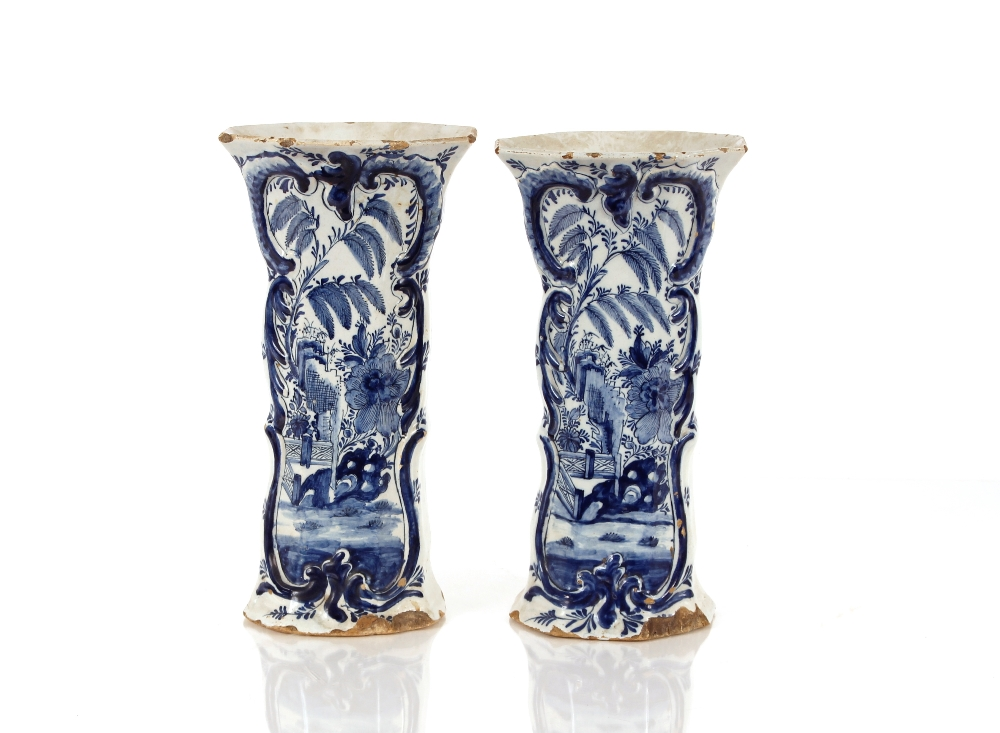 A pair of 18th Century Delft vases,decorated in the Chinese manner, 30cm high AF