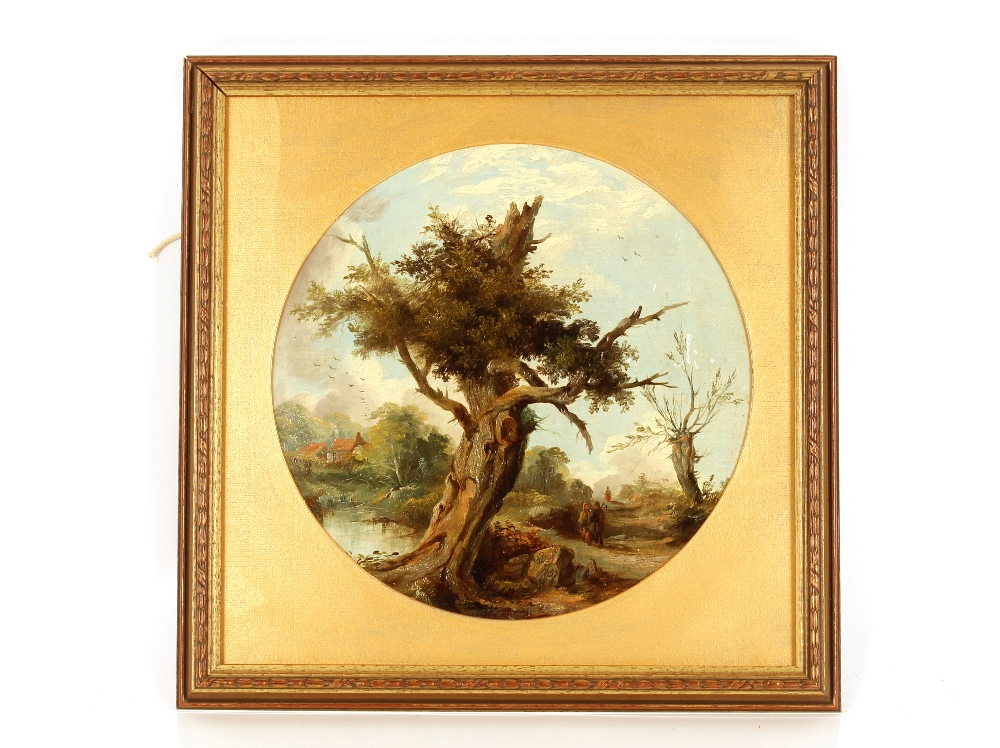 S. Day, travellers passing an old oak tree, signed and dated 1857, oil on canvas, tondo 28.5cm