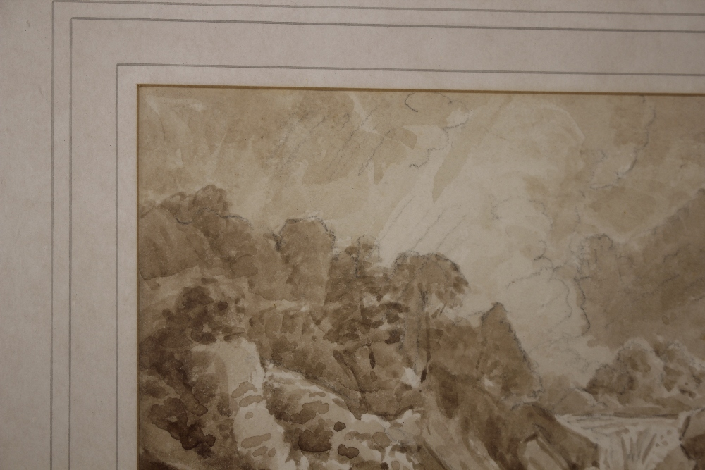 Attributedto J Curstall 1767-1847,study of a waterfall, unsigned pencil and watercolour, 19cm x - Image 5 of 9