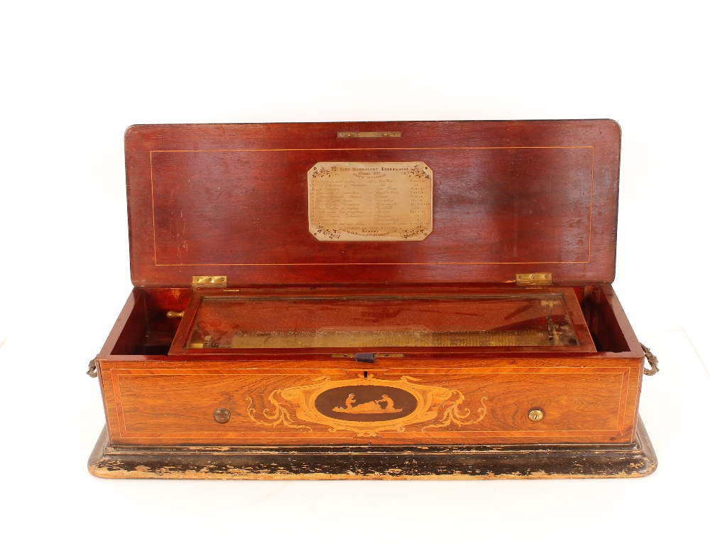 A Nichol Freres 12 air mandoline Expression music box, Damme 3115 Piece No.46008, in rosewood and - Image 2 of 14