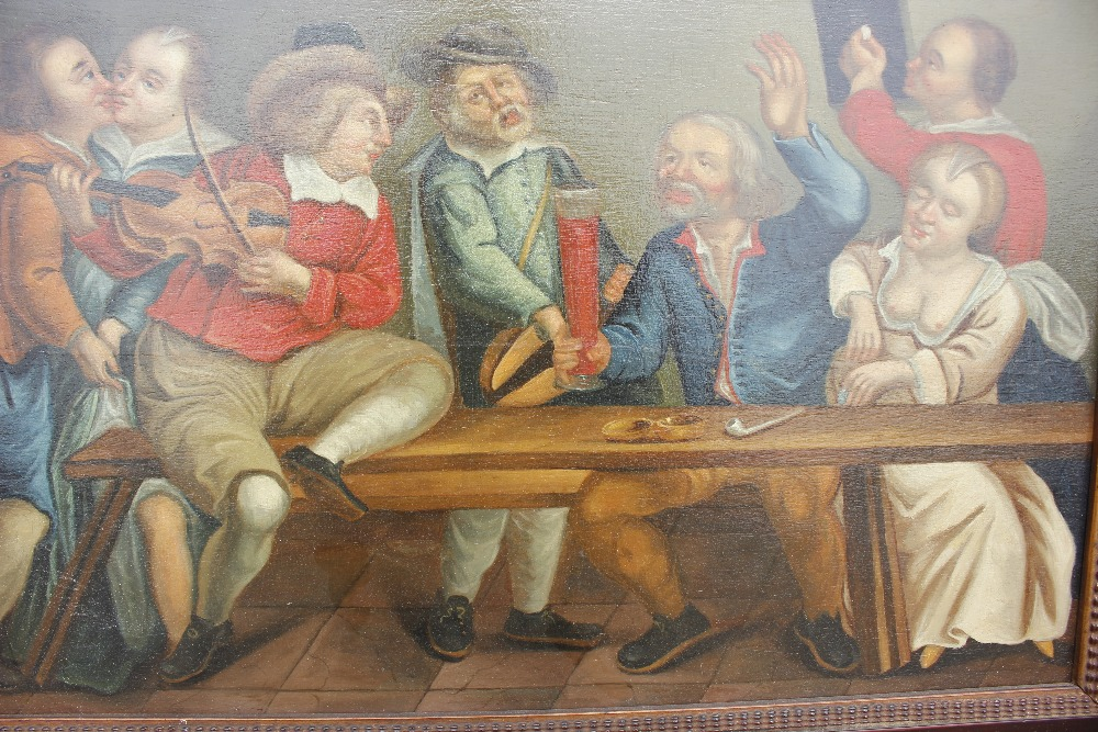 Dutch school late 17th / early 18th Century scene,of a bawdy tavern interior, unsigned oil on - Image 8 of 9