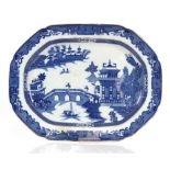 A 19th Century blue and white meat plate,decorated in the Chinese manner 47.5cm; and a 19th Century