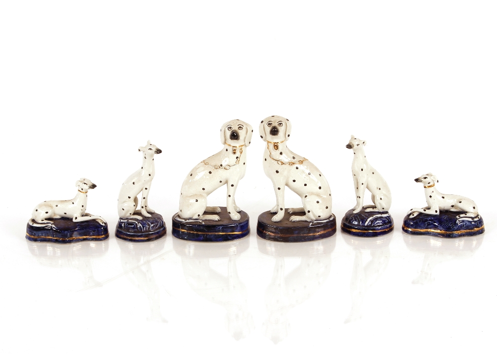Three pairs of various sized Victorian Staffordshire Dalmatians