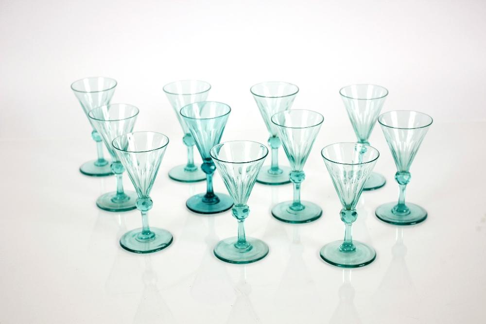 Eleven 19th Centurygreen knop stemmed wine glasses