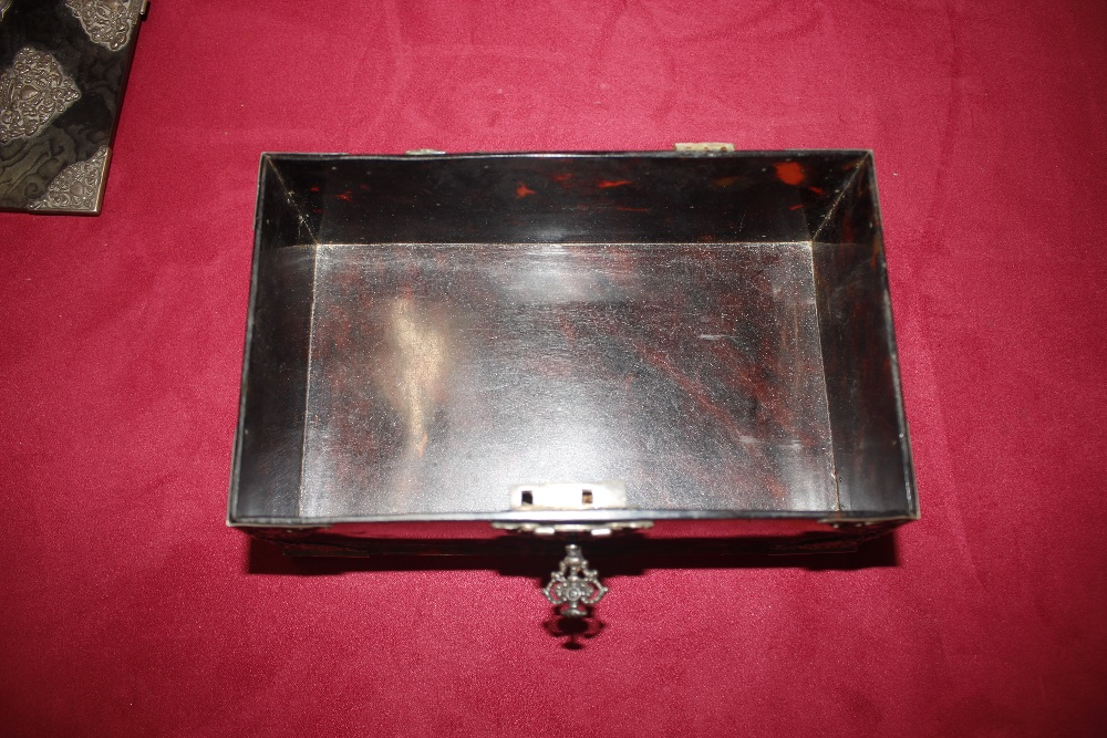A 19th Century tortoiseshell and white metal mounted trinket casket,having pierced foliate and - Image 12 of 19