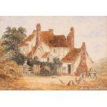 E. Adams, Suffolk school watercolour of The Bucks Horn in Belstead, signed 13cm x 18cm; and