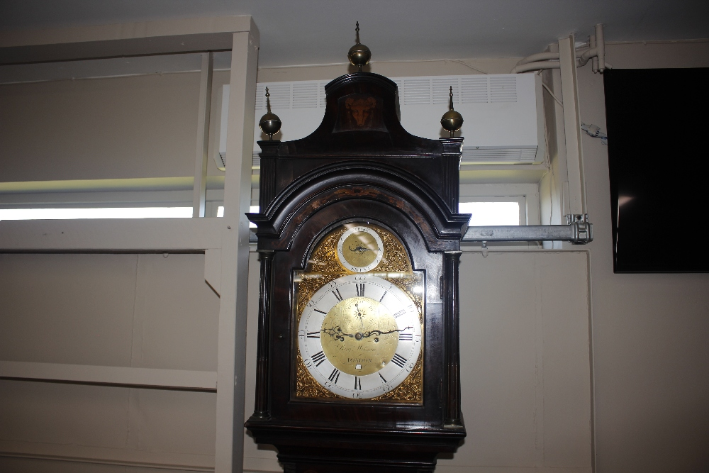 A George III and later marquetry inlaid mahogany long case clock,the domed hood with three brass - Image 5 of 7