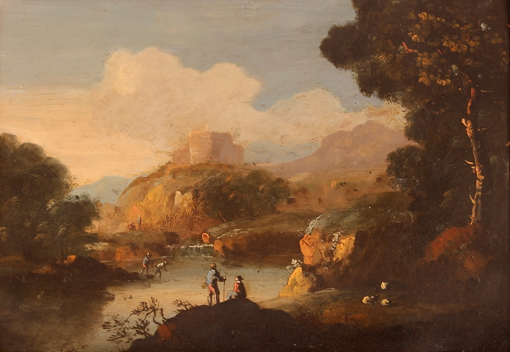 Continental school, 18th Century, a hilly Italianate river landscape with figures fishing, oil on