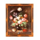 20th Centurycontinental school, summer flowers in a glass vase resting on a marble ledge,