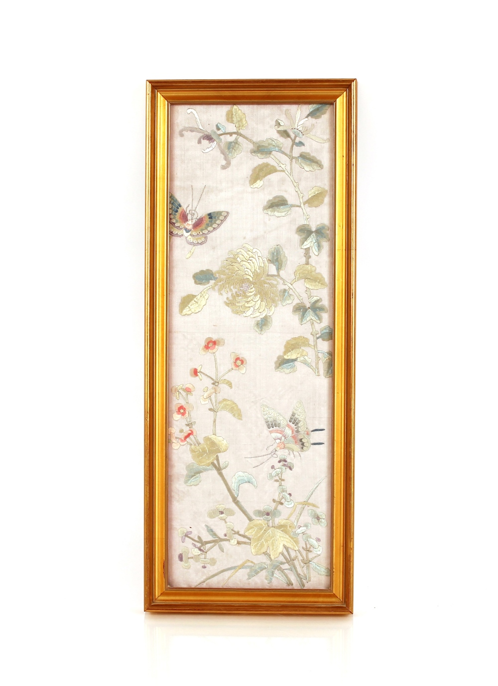 An Oriental embroidered silk work panel,depicting flowers and butterfly, 39cm x 16cm; and another