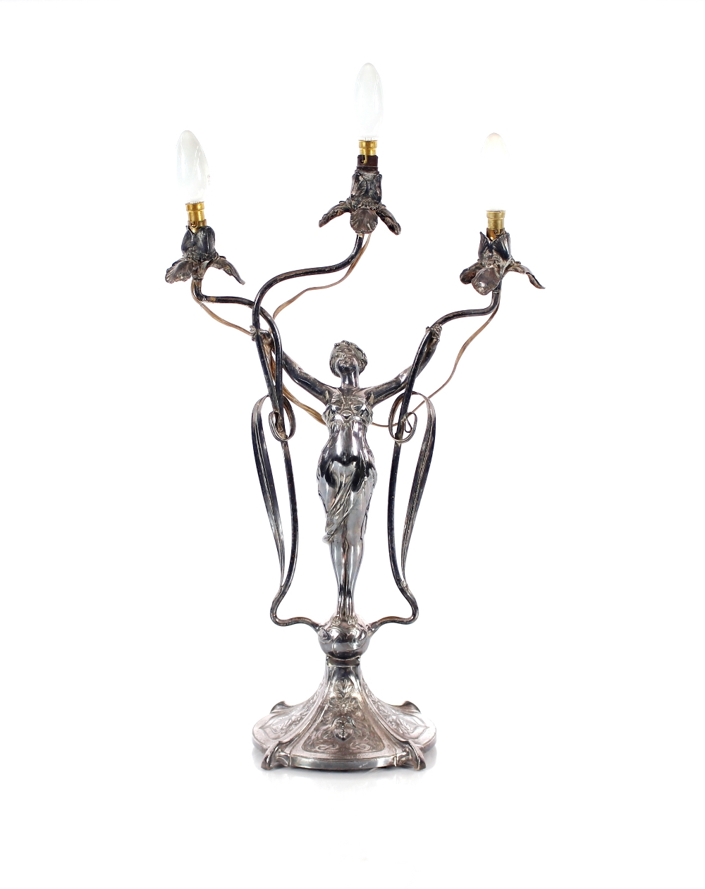 An Art Nouveau three light candelabra,in the form of a maiden with outstretched arms on mask and