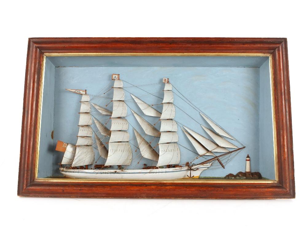 A cased ship diorama, 49cm x 85cm overall