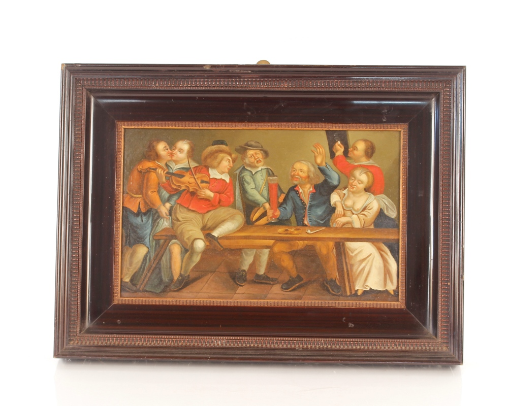 Dutch school late 17th / early 18th Century scene,of a bawdy tavern interior, unsigned oil on - Image 2 of 9