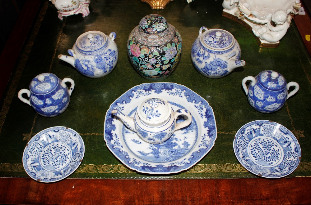 A small 19th Century Staffordshire blue and white teapot,having floral decoration; a Chinese