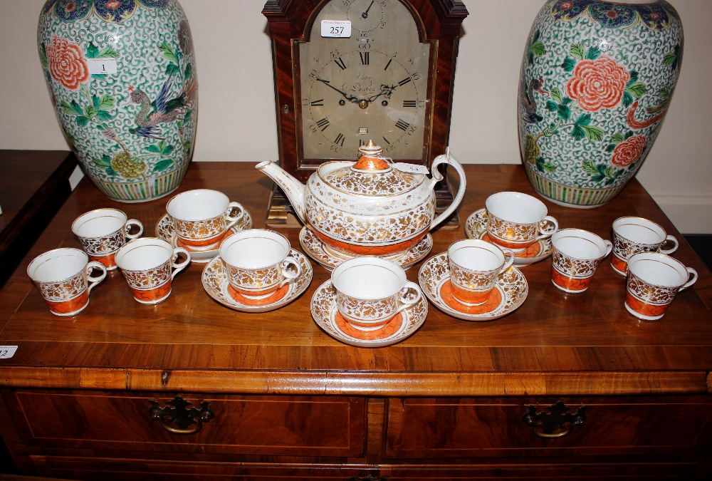 A Chamberlains Worcester part tea service,circa 1810, comprising teapot, tea and coffee cups and
