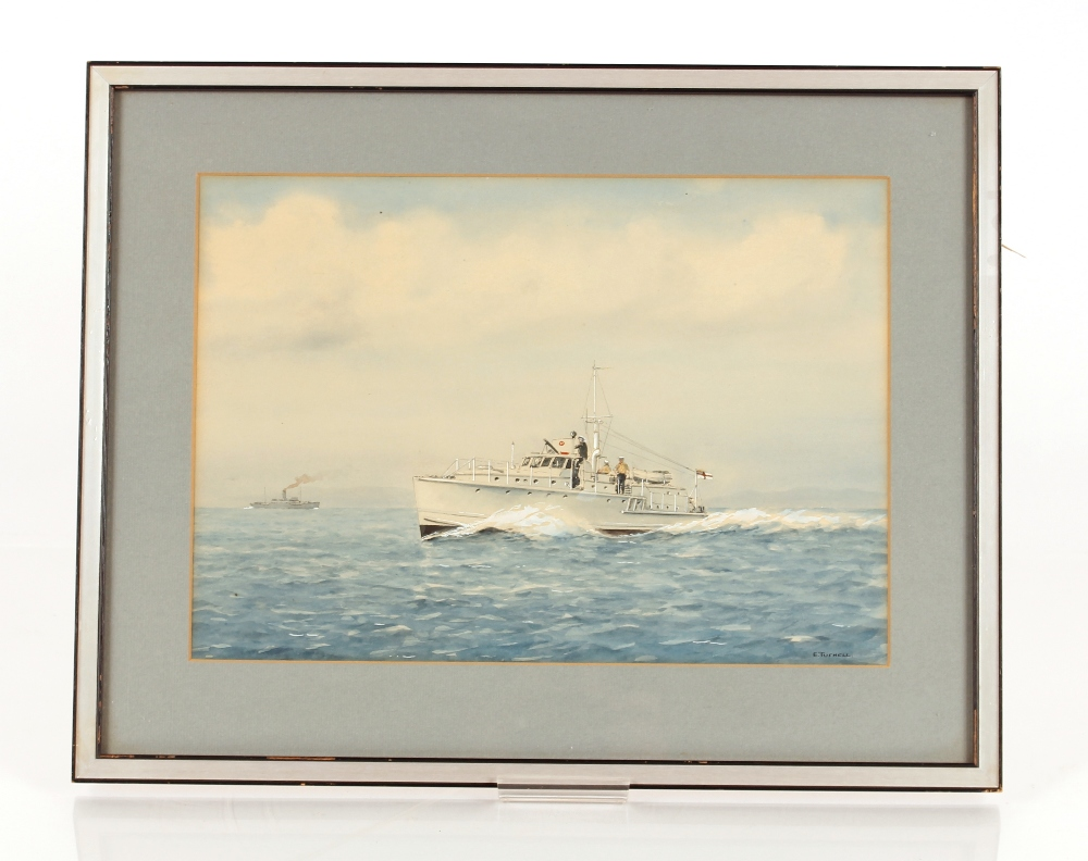 E Tufnell,study of a patrol boat, signed watercolour, 26cm x 36cm - Image 2 of 2