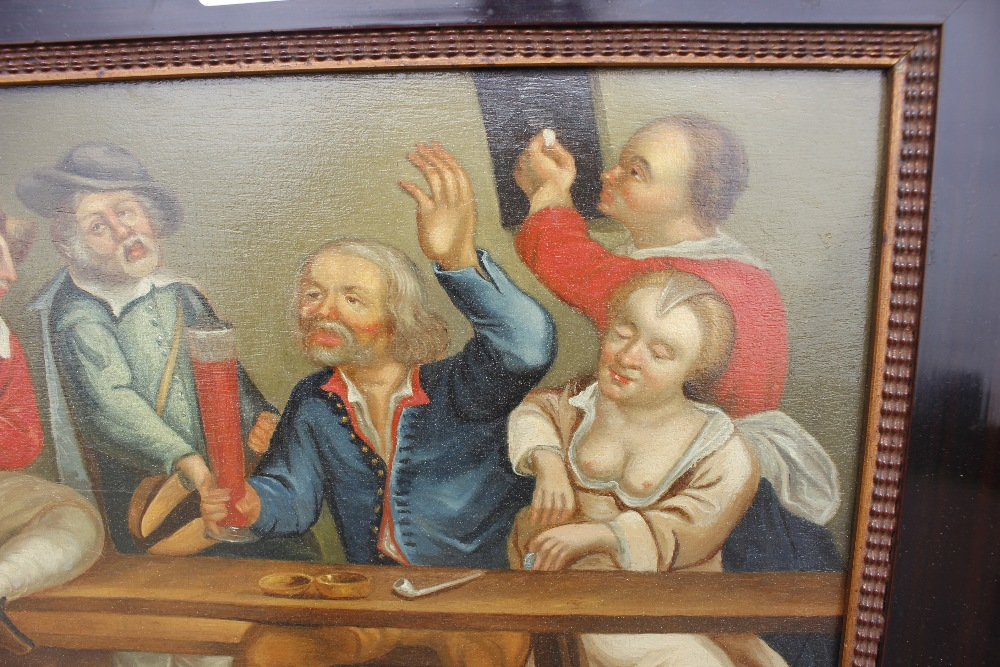 Dutch school late 17th / early 18th Century scene,of a bawdy tavern interior, unsigned oil on - Image 4 of 9