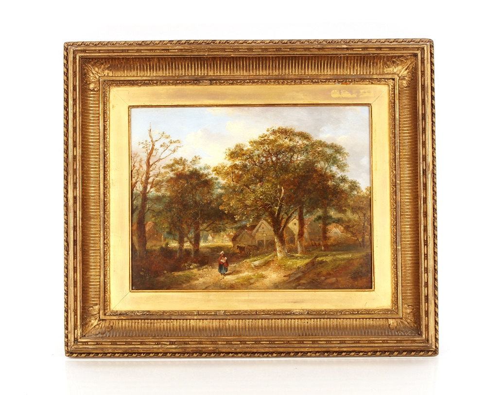 19th Century Suffolk school,Study of woman and child walking along a country path, farm and - Image 2 of 2