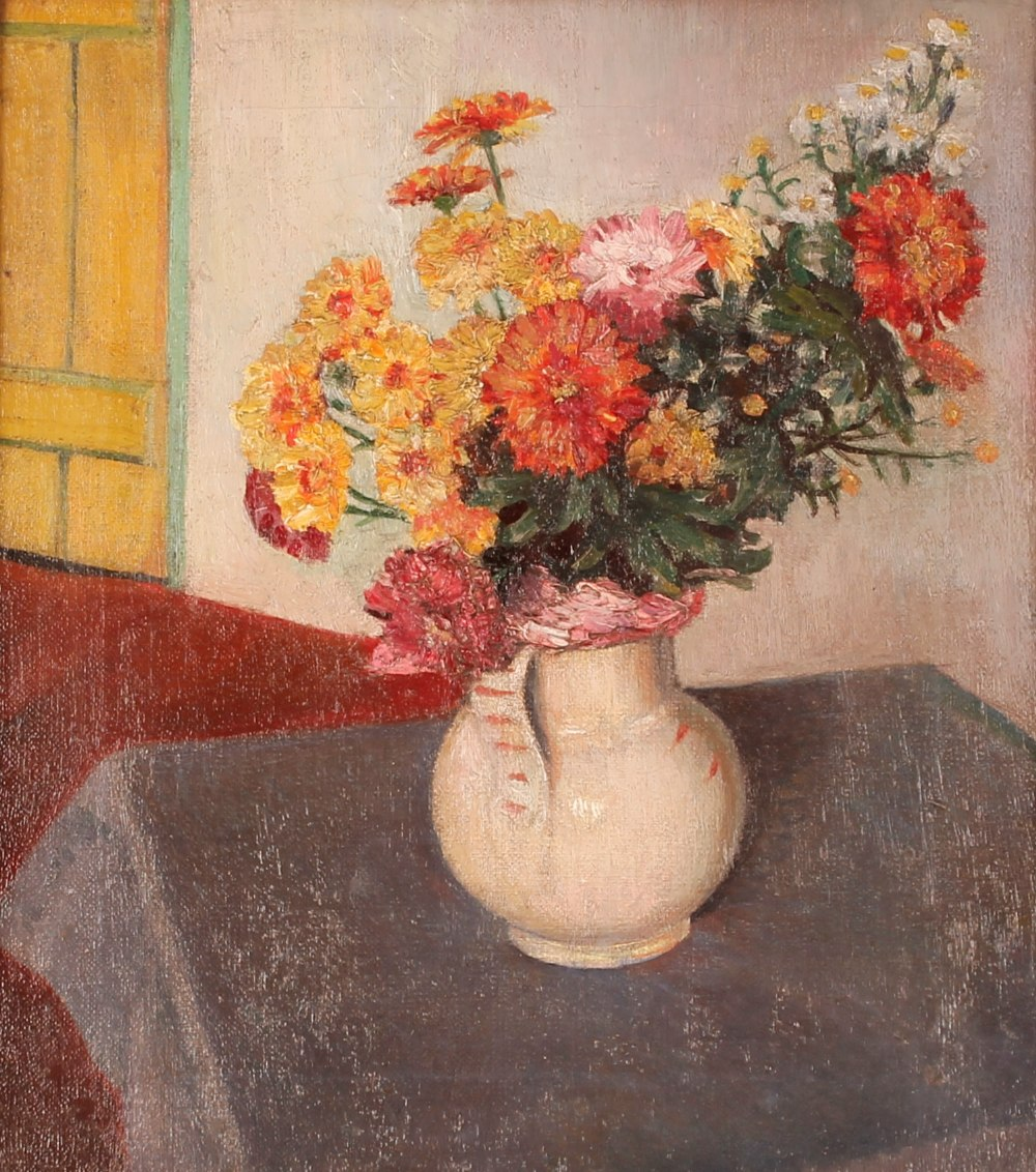 """Margaret (Peggy) Angus,""""Flowers In A White Jug"""", oil on canvas label verso, 40cm x 34cm NB."""
