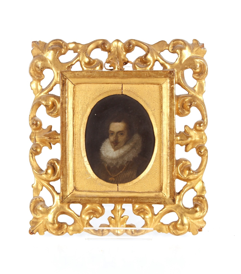 A pair of 18th Century miniature portraits, possibly Elizabeth I and Walter Raleigh contained in - Image 2 of 2