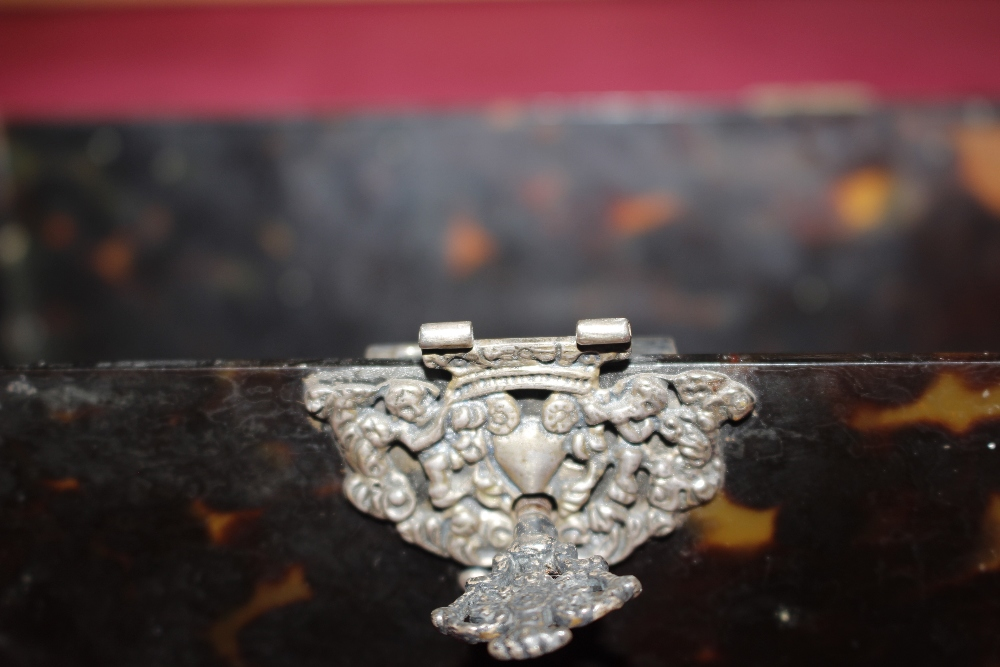 A 19th Century tortoiseshell and white metal mounted trinket casket,having pierced foliate and - Image 19 of 19