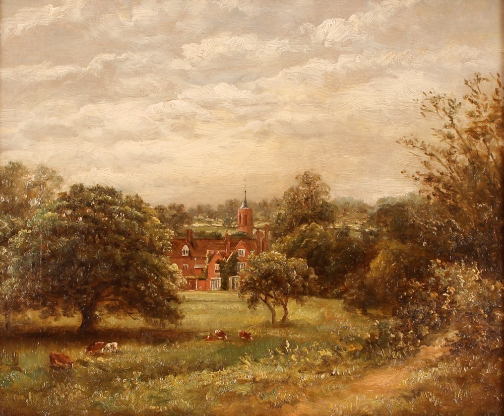 John Moore 1820-1902, study of a large house with meadow and cattle to the fore ground, signed - Image 2 of 2