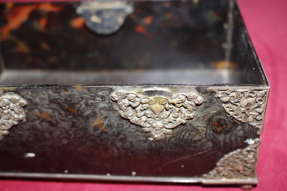 A 19th Century tortoiseshell and white metal mounted trinket casket,having pierced foliate and - Image 8 of 19